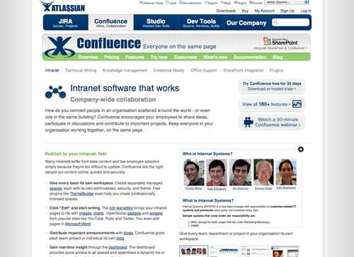 Sitio web de Confluence