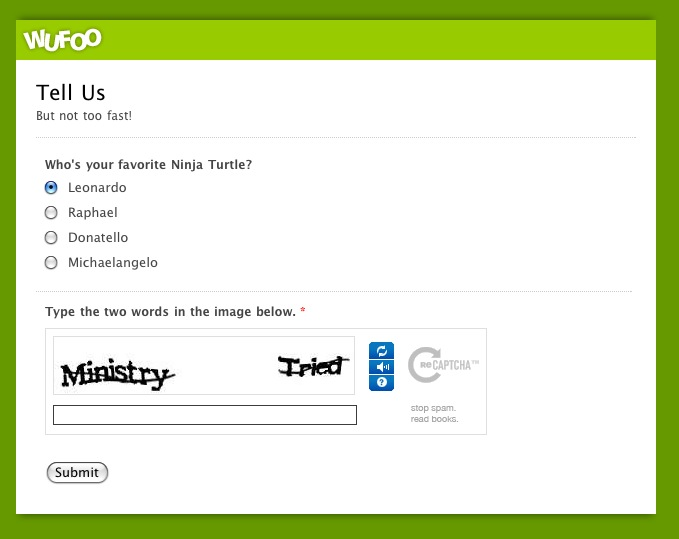 Screenshot of Wufoo Smart Captcha