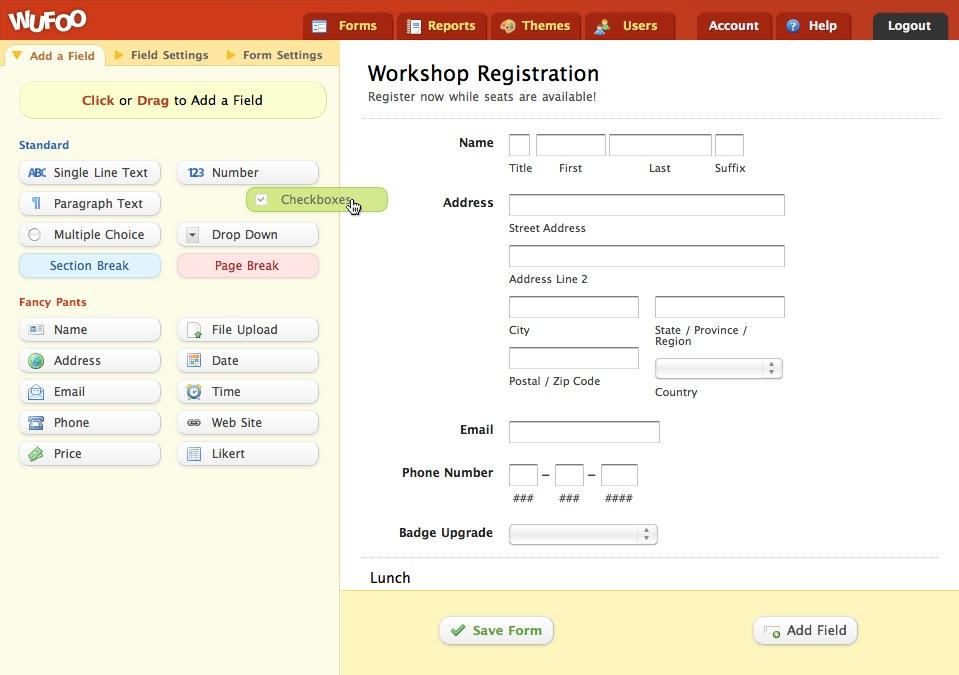 interface de création de formulaire