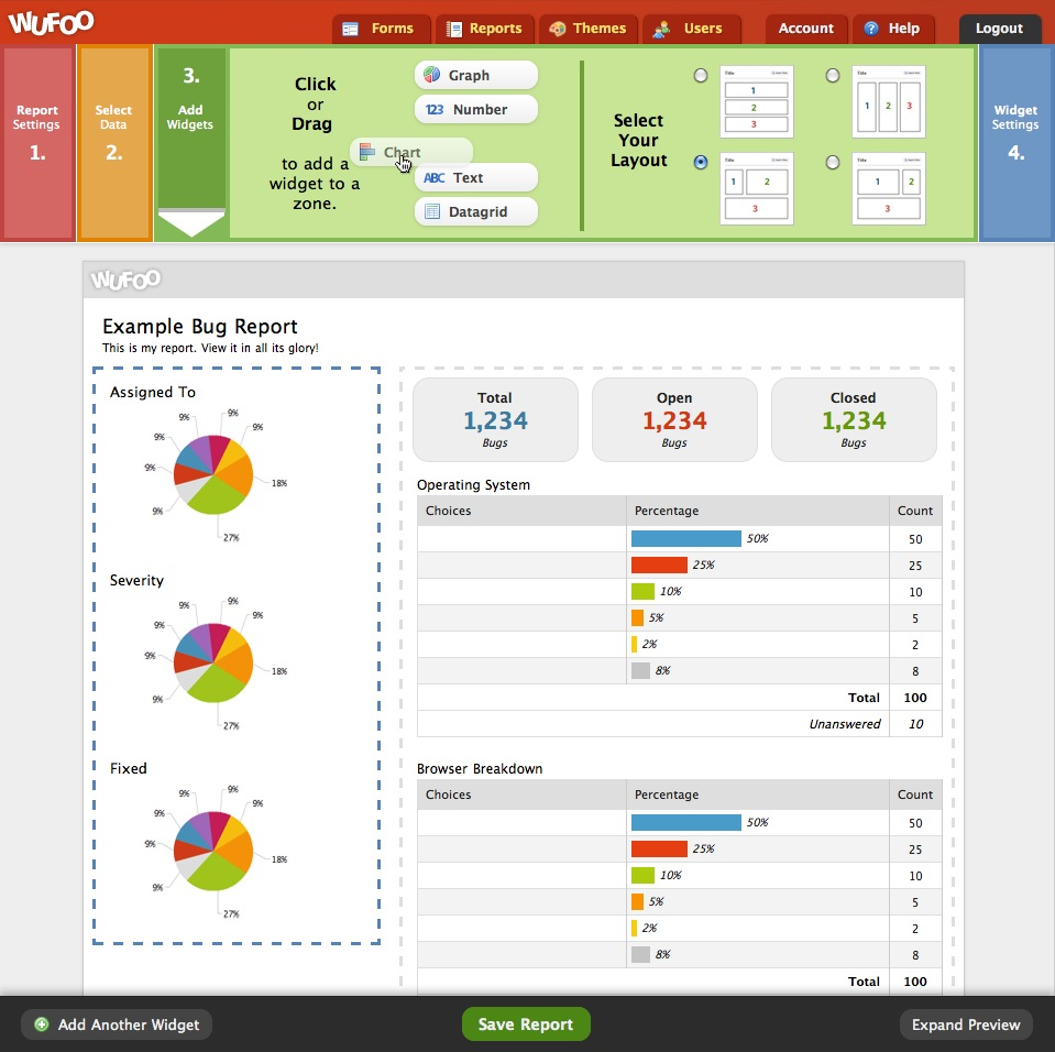 Screenshot of Wufoo Report Builder